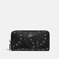 COACH F29946 Accordion Zip Wallet With Celestial Print SILVER/BLACK