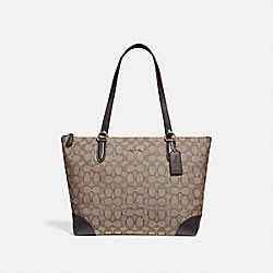 ZIP TOP TOTE IN SIGNATURE JACQUARD - COACH f29958 - KHAKI/BROWN/IMITATION GOLD