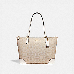 ZIP TOP TOTE IN SIGNATURE JACQUARD - f29958 - LIGHT KHAKI/CHALK/IMITATION GOLD