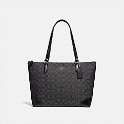 ZIP TOP TOTE IN SIGNATURE JACQUARD - f29958 - BLACK SMOKE/BLACK/SILVER