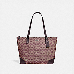 ZIP TOP TOTE IN SIGNATURE JACQUARD - F29958 - SV/RASPBERRY