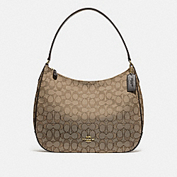 ZIP SHOULDER BAG IN SIGNATURE JACQUARD - f29959 - KHAKI/BROWN/IMITATION GOLD