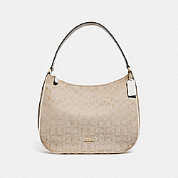 ZIP SHOULDER BAG IN SIGNATURE JACQUARD - f29959 - LIGHT KHAKI/CHALK/IMITATION GOLD