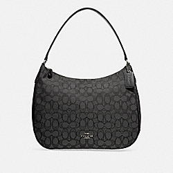ZIP SHOULDER BAG IN SIGNATURE JACQUARD - f29959 - BLACK SMOKE/BLACK/SILVER