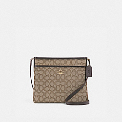 FILE CROSSBODY IN SIGNATURE JACQUARD - f29960 - KHAKI/BROWN/IMITATION GOLD