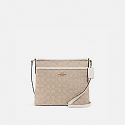 FILE CROSSBODY IN SIGNATURE JACQUARD - f29960 - LIGHT KHAKI/CHALK/IMITATION GOLD