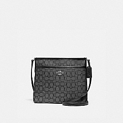 FILE CROSSBODY IN SIGNATURE JACQUARD - f29960 - BLACK SMOKE/BLACK/SILVER
