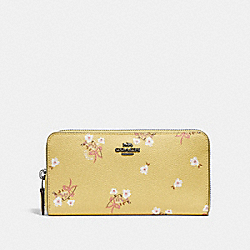 COACH F29969 Accordion Zip Wallet With Floral Bow Print SUNFLOWER FLORAL BOW/DARK GUNMETAL