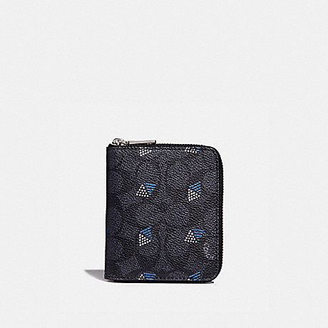 COACH F29970 SMALL ZIP AROUND WALLET IN SIGNATURE CANVAS WITH DOT DIAMOND PRINT CHARCOAL