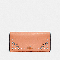 SLIM WALLET WITH PRAIRIE RIVETS DETAIL - F29972 - DARK BLUSH/DARK GUNMETAL