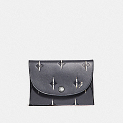 COACH F29980 Snap Card Case With Ikat Geo Print GREY/CHALK