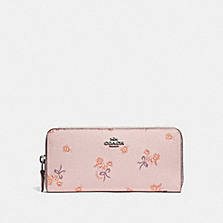 COACH F29993 Slim Accordion Zip Wallet With Floral Bow Print ICE PINK FLORAL BOW/SILVER