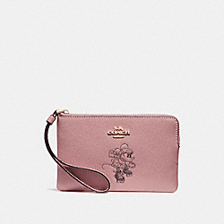 COACH F30004 Corner Zip Wristlet With Minnie Mouse Motif VINTAGE PINK/LIGHT GOLD