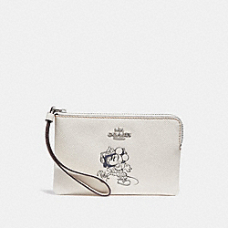 COACH F30004 Corner Zip Wristlet With Minnie Mouse Motif SILVER/CHALK