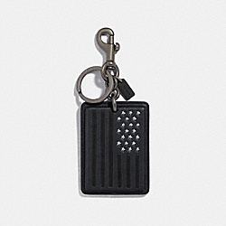 FLAG BAG CHARM - f30015 - ANTIQUE NICKEL/BLACK MULTI