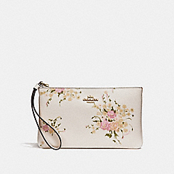 COACH F30018 Large Wristlet With Floral Bundle Print CHALK MULTI/IMITATION GOLD