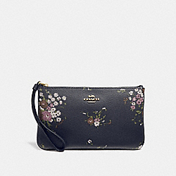 COACH F30018 Large Wristlet With Floral Bundle Print MIDNIGHT MULTI/IMITATION GOLD