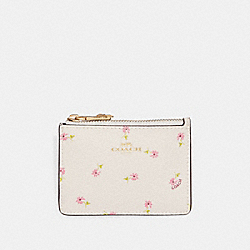 COACH F30019 Mini Id Skinny In Ditsy Daisy Print CHALK MULTI/IMITATION GOLD