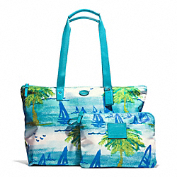 COACH F30022 - BEACH SCENE WEEKENDER SILVER/BLUE MULTI
