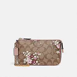 LARGE WRISTLET 19 IN SIGNATURE CANVAS WITH FLORAL BUNDLE PRINT - f30025 - khaki/multi/imitation gold