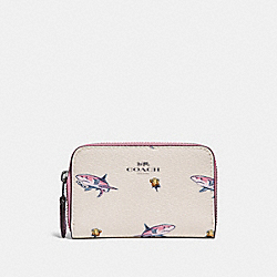 COACH F30037 Zip Around Coin Case With Shark Rose Print BLACK ANTIQUE NICKEL/CHALK MULTI