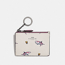 COACH F30038 Mini Id Skinny With Shark Rose Print BLACK ANTIQUE NICKEL/CHALK MULTI