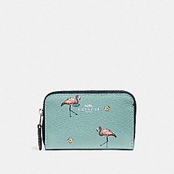 COACH F30046 Zip Around Coin Case With Flamingo Print SVNGV
