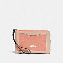 COACH F30048 Corner Zip Wristlet In Colorblock SUNRISE MULTI/LIGHT GOLD