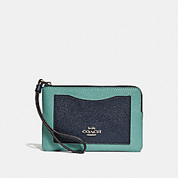 COACH F30048 Corner Zip Wristlet In Colorblock SILVER/BLUE MULTI
