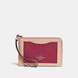COACH F30048 Corner Zip Wristlet In Colorblock SILVER/PINK MULTI