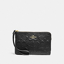 CORNER ZIP WRISTLET IN SIGNATURE LEATHER - f30049 - BLACK/light gold
