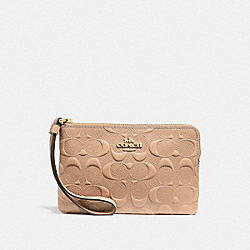 CORNER ZIP WRISTLET IN SIGNATURE LEATHER - f30049 - BEECHWOOD/light gold