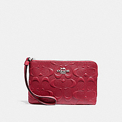 COACH F30049 Corner Zip Wristlet In Signature Leather SILVER/HOT PINK