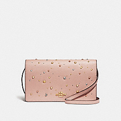 COACH F30050 Foldover Crossbody Clutch With Celestial Studs NUDE PINK/LIGHT GOLD