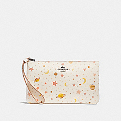 COACH F30058 Large Wristlet With Constellation Print CHALK MULTI/BLACK ANTIQUE NICKEL