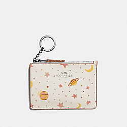 COACH F30059 - MINI SKINNY ID CASE WITH CONSTELLATION PRINT CHALK MULTI/BLACK ANTIQUE NICKEL