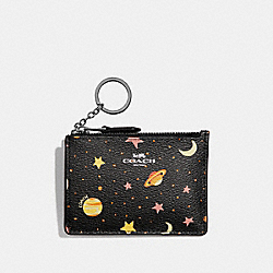 COACH F30059 Mini Skinny Id Case With Constellation Print BLACK/MULTI/SILVER