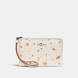 COACH F30060 Corner Zip Wristlet With Constellation Print CHALK MULTI/BLACK ANTIQUE NICKEL