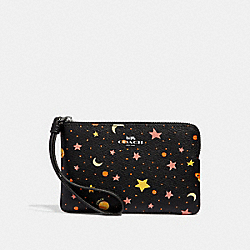 COACH F30060 Corner Zip Wristlet With Constellation Print BLACK/MULTI/SILVER