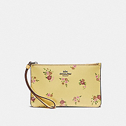COACH F30079 Small Wristlet With Daisy Bundle Print And Bow Zip Pull VANILLA MULTI/SILVER