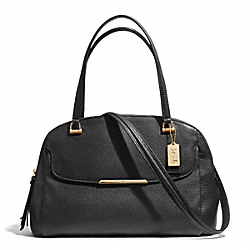MADISON LEATHER GEORGIE SATCHEL - f30082 - LIGHT GOLD/BLACK
