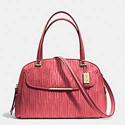 MADISON GATHERED LEATHER GEORGIE SATCHEL - f30084 - LIGHT GOLD/LOGANBERRY