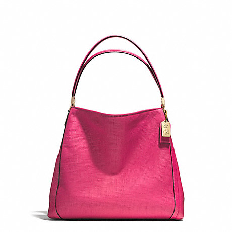 COACH F30089 MADISON EMBOSSED LEATHER SMALL PHOEBE SHOULDER BAG LIGHT-GOLD/PINK-RUBY