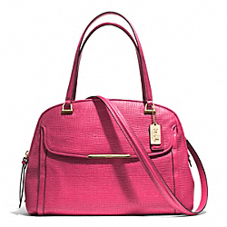 COACH F30092 - MADISON EMBOSSED LEATHER GEORGIE SATCHEL LIGHT GOLD/PINK RUBY