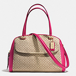 COACH F30094 Madison Art Needlepoint Fabric Georgie Satchel LIGHT GOLD/KHAKI/PINK RUBY