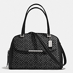 COACH F30094 Madison Art Needlepoint Fabric Georgie Satchel SILVER/BLACK