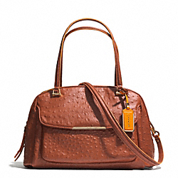 COACH F30113 Madison Ostrich Embossed Edgepaint Leather Georgie Satchel LIGHT GOLD/BURNT CAMEL