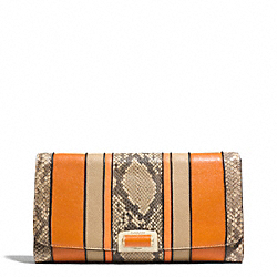 COACH F30117 Madison Exotic Stripe Leather Pinnacle Clutch LIGHT GOLD/NATURAL MULTI