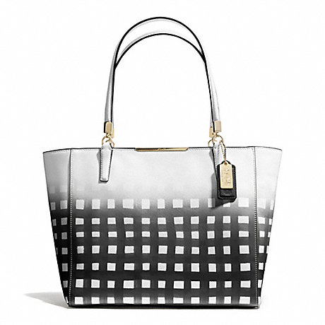 COACH F30118 MADISON GINGHAM SAFFIANO EAST/WEST TOTE LIGHT-GOLD/WHITE/BLACK