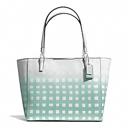 COACH F30118 - MADISON GINGHAM SAFFIANO EAST/WEST TOTE SILVER/WHITE/DUCK EGG